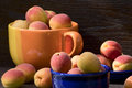 Apricots in ceramic bowls beautiful ripe on a wooden background Royalty Free Stock Photography