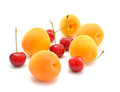 Apricots and cherries Royalty Free Stock Image