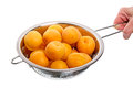 Apricots in a colander fresh apricot isolated on white background Royalty Free Stock Photography