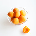 Apricots in a glass bowl Stock Photos