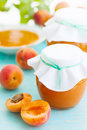 Apricots and jam fresh apricot still life Stock Photos