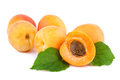 Apricots organic fruits with leaves on white Royalty Free Stock Photo
