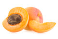 Apricots ripe on white background Royalty Free Stock Photos