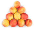 Apricots triangle group on white background Stock Photos