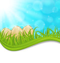 April background with easter colorful eggs illustration Royalty Free Stock Photography