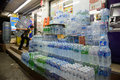 April bangkok thailand stockpile of drinking water bottles in front a convenient store to be sold in songkran festival many Royalty Free Stock Image