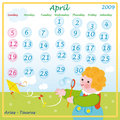 April calendar 2009 Royalty Free Stock Photos