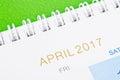 April calendar 2017.