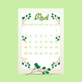 April 2017 calendar with tree branches on green background