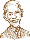 April 3, 2017: A caricature portrait of the 44th President of USA Barack Obama Royalty Free Stock Photo