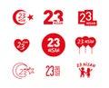 April 23 Children`s Day vector icon set