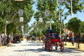 The april fair of seville spain may carriages at s on feria de abril de sevilla on may in spain Stock Photos