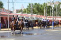 The april fair of seville spain may carriages at s on feria de abril de sevilla on may in spain Royalty Free Stock Photo