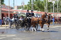 The april fair of seville spain may carriages at s on feria de abril de sevilla on may in spain Royalty Free Stock Photos