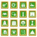 April fools day icons set green