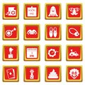 April fools day icons set red