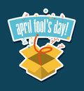 April fools day over blue background vector illustration Stock Photos
