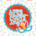 April fools day over white background vector illustration Royalty Free Stock Image