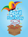 April fools day sign with jester hat colorful explore from the box Stock Images