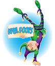April fools a jester holding a sign that says fool s Royalty Free Stock Image