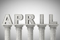 April month sign on a classic columns greek style Royalty Free Stock Photos