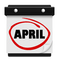 April month word wall calendar remember schedule the on a to remind you of important events during the spring and and easter time Royalty Free Stock Image