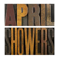 April showers the words written in vintage letterpress type Royalty Free Stock Photos