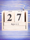 April 27th. Date of 27 April on wooden cube calendar
