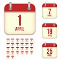 April vector calendar icons this is file of eps format Stock Photo