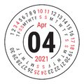 April 2021. Vector English сalendar. Round calender. Week starts on Sunday. Design template. Circle. Fourth month Royalty Free Stock Photo