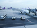 Apron inside of Suvarnabhumi Airport. Suvarnabhumi Airport is one of two international airports serving Bangkok