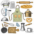 Apron or pinaphora and Hood, rolling pin and saucepan or corolla, wooden board. Chef and dirty kitchen utensils, cooking