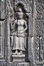 Apsara dancer at the bas-relief of Banteay Kdei Temple Cambodia. Stock Image