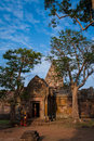 Apsara dancer in old khmer ancient temple a group of front of the gate of phanom rung main buriram thailand Stock Images