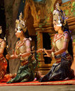 Apsara dancers kneel siem reap cambodia feb at the end of a performance siem reap cambodia Stock Photos