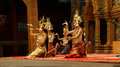 Apsara dancers kneel siem reap cambodia feb at the end of a performance siem reap cambodia Royalty Free Stock Photography