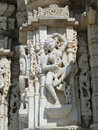 Apsaras dancing girls on exterior walls of parasvanth temple at ranakpur in rajasthan india Royalty Free Stock Photos