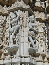 Apsaras dancing girls on exterior walls of parasvanth temple at ranakpur in rajasthan india Stock Image