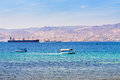 Aqaba gulf and view on Israel town Eilat Stock Photos
