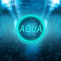 Aqua blue ball with drops on water background Stock Photo