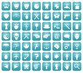 Aqua downy icon set Foto de archivo