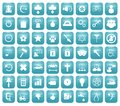 Aqua downy icon set illustration of blue icons Stock Images