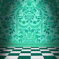 Aqua Green Damask Wallpaper Wi...