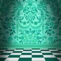 Aqua Green Damask Wallpaper Wi...