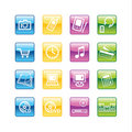 Aqua home electronics icons Royalty Free Stock Photo