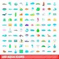 100 aqua icons set, cartoon style Royalty Free Stock Photo