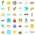 Aqua icons set, cartoon style Royalty Free Stock Photo