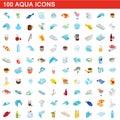 100 aqua icons set, isometric 3d style Royalty Free Stock Photo