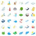 Aqua icons set, isometric style Royalty Free Stock Photo