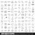 100 aqua icons set, outline style Royalty Free Stock Photo